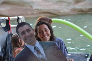 Our daughter Ashley with her cardboard cutout of her brother Dalton who is busy serving a mission for the LDS Church right now.  We take his cutout everywhere :)