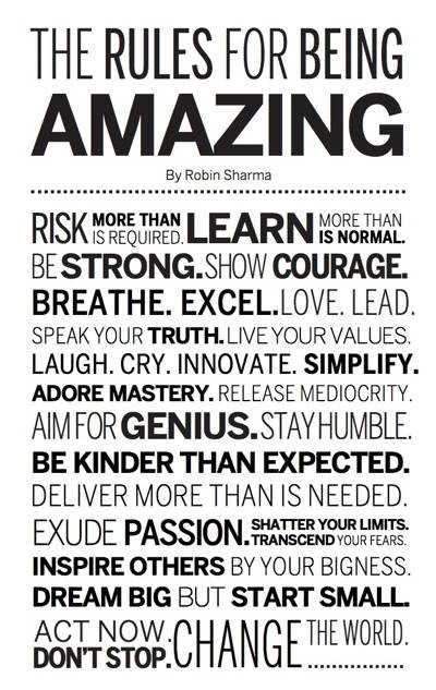 Rules for being amazing